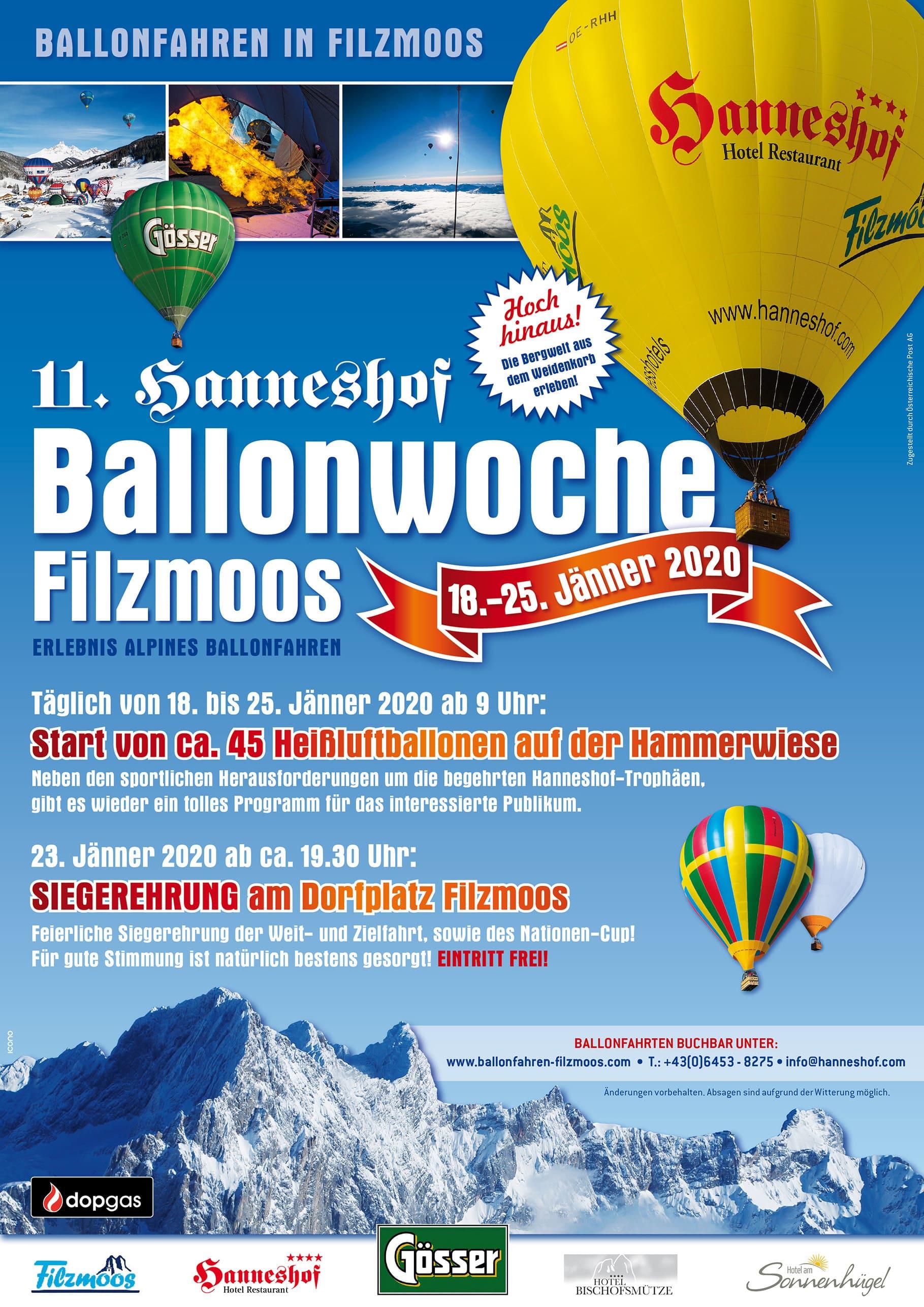 Programm der 11. Hanneshof Ballonwoche Filzmoos 2020